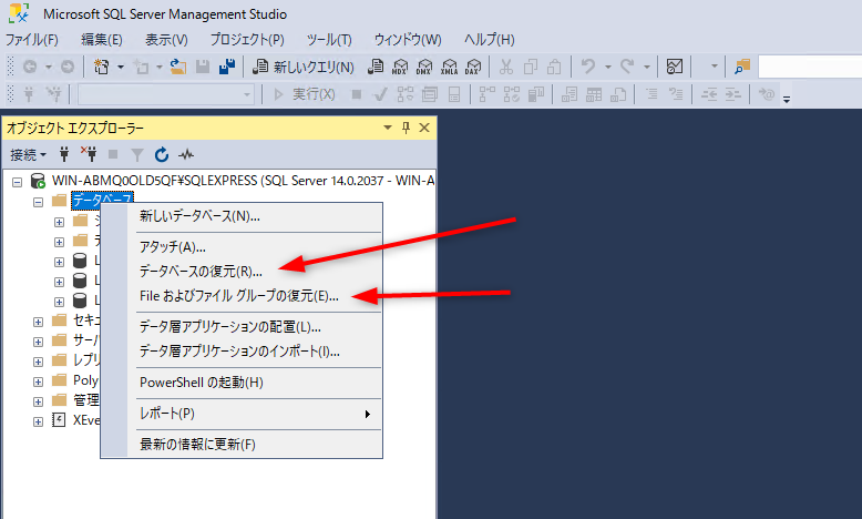Fileおよびファイルグループの復元 データベースの復元